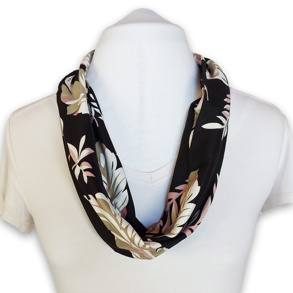 Scarf with built in mask - Black Pink Beige Floral