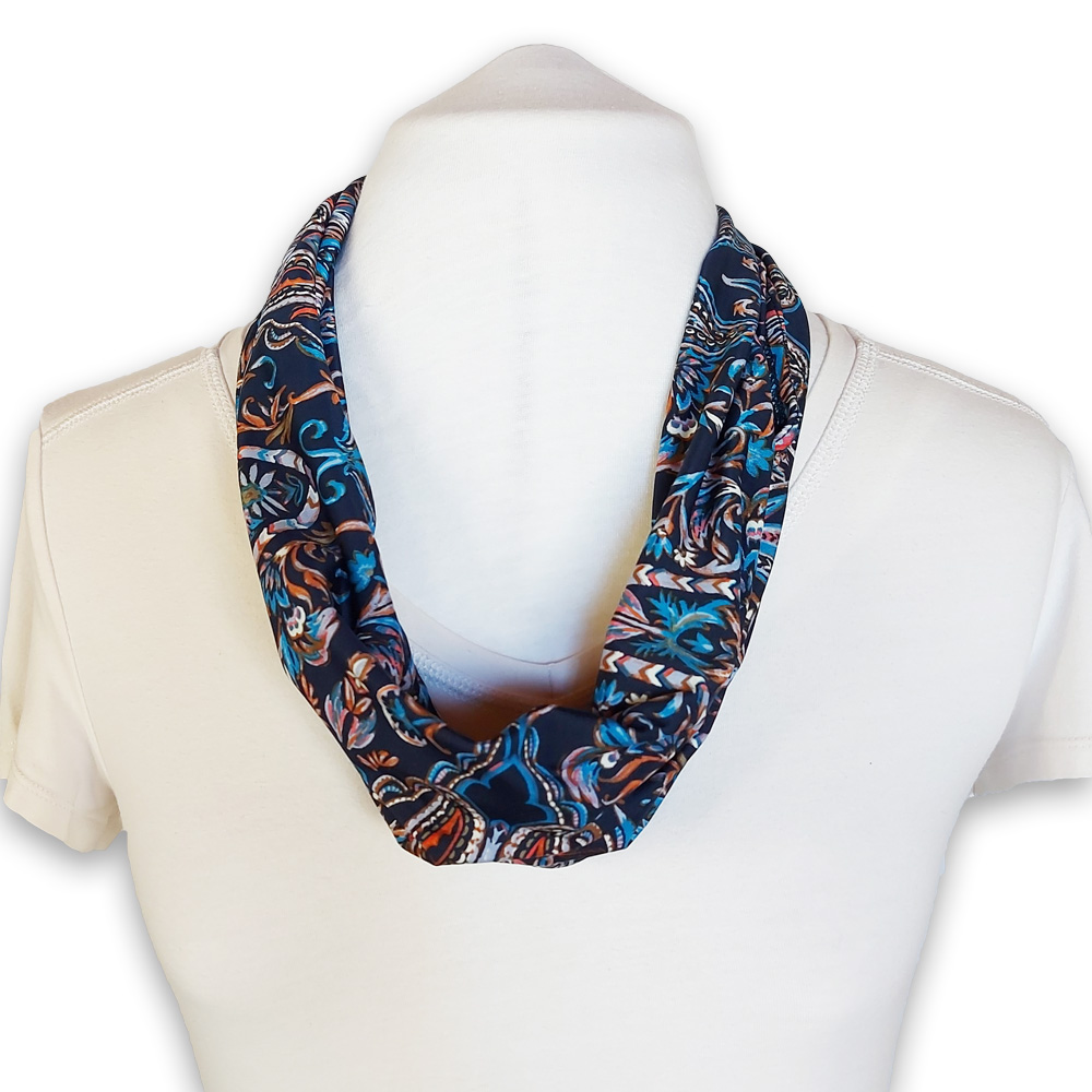 Scarf with built in mask - dark blue patterned