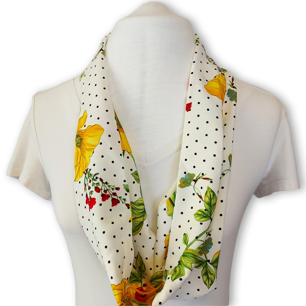 Scarf with built in mask - White yellow dotted floral