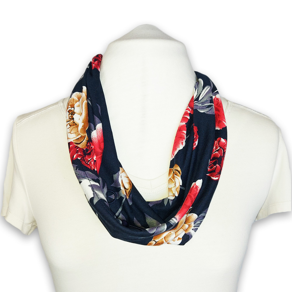 Scarf with built in mask - navy red beige floral