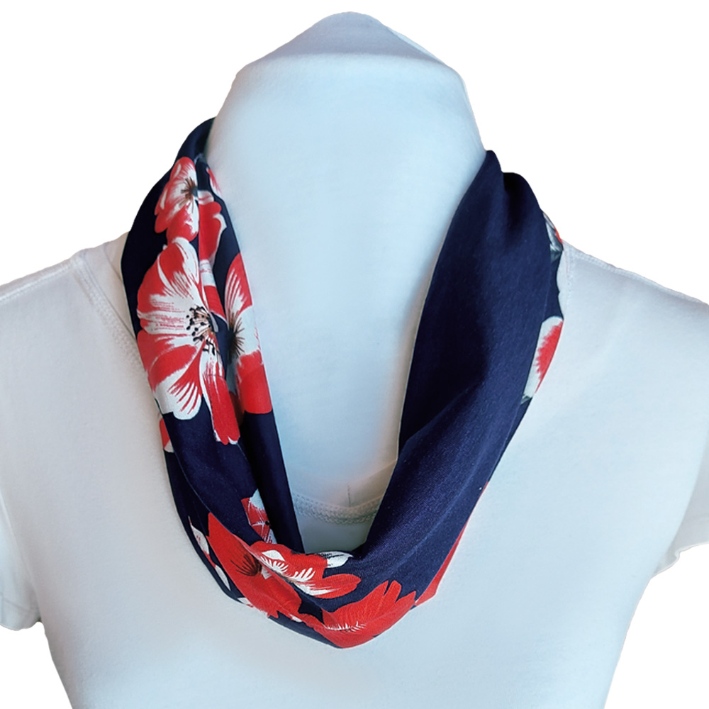 Summer scarf with adjustable built in mask - red and navy floral