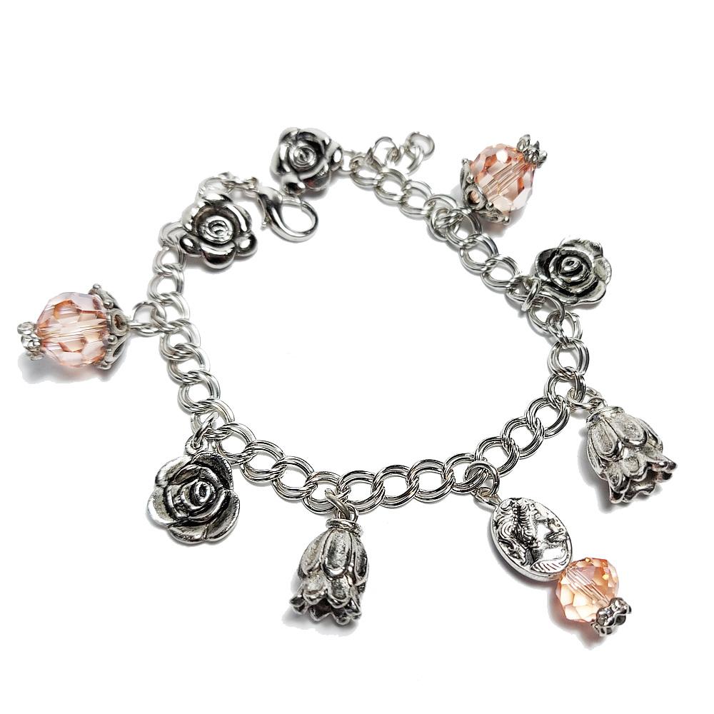 Peach and Silver charm bracelet