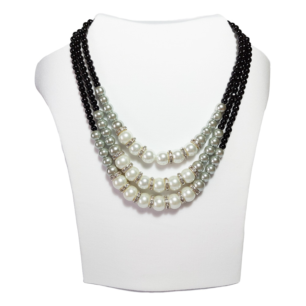 Pearl and Black 3 string neck piece