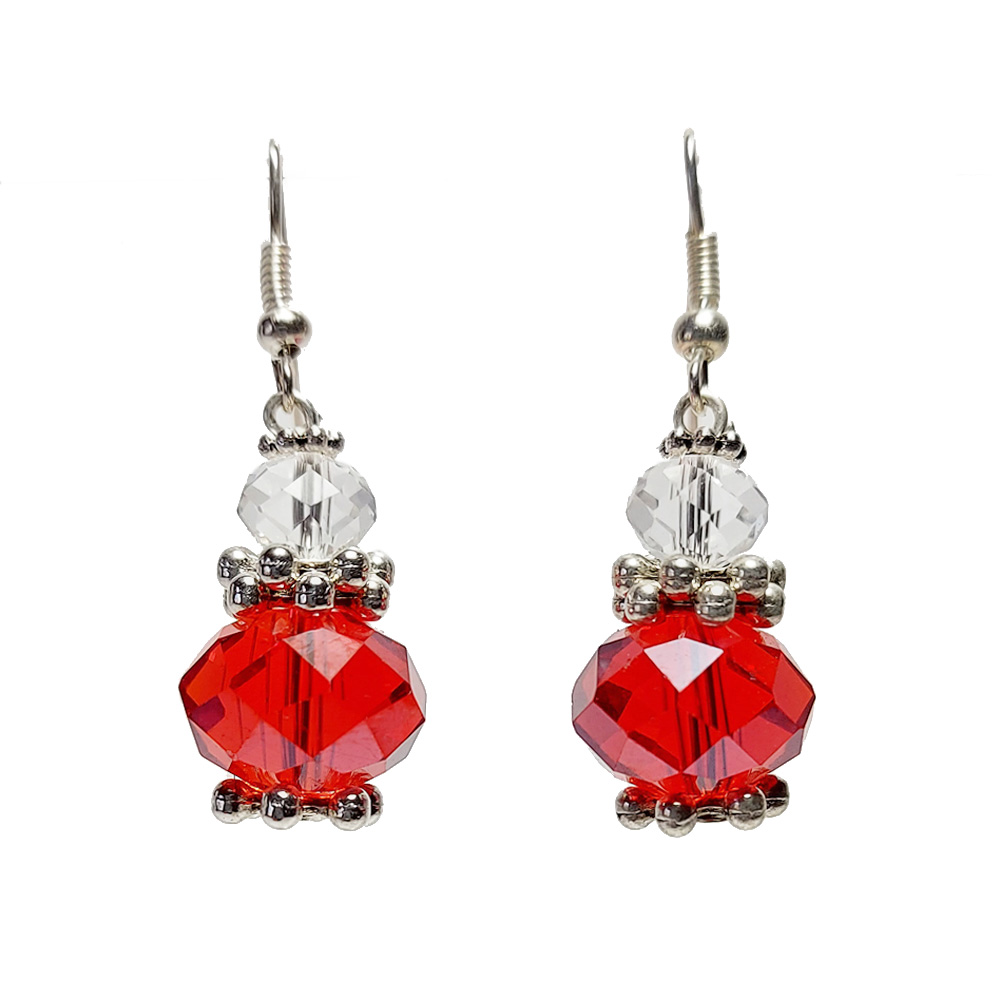 Red and crystal bead earrings