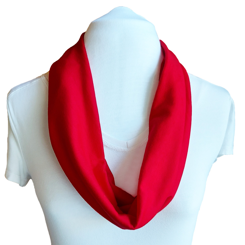 Summer scarf with adjustable built in mask - red