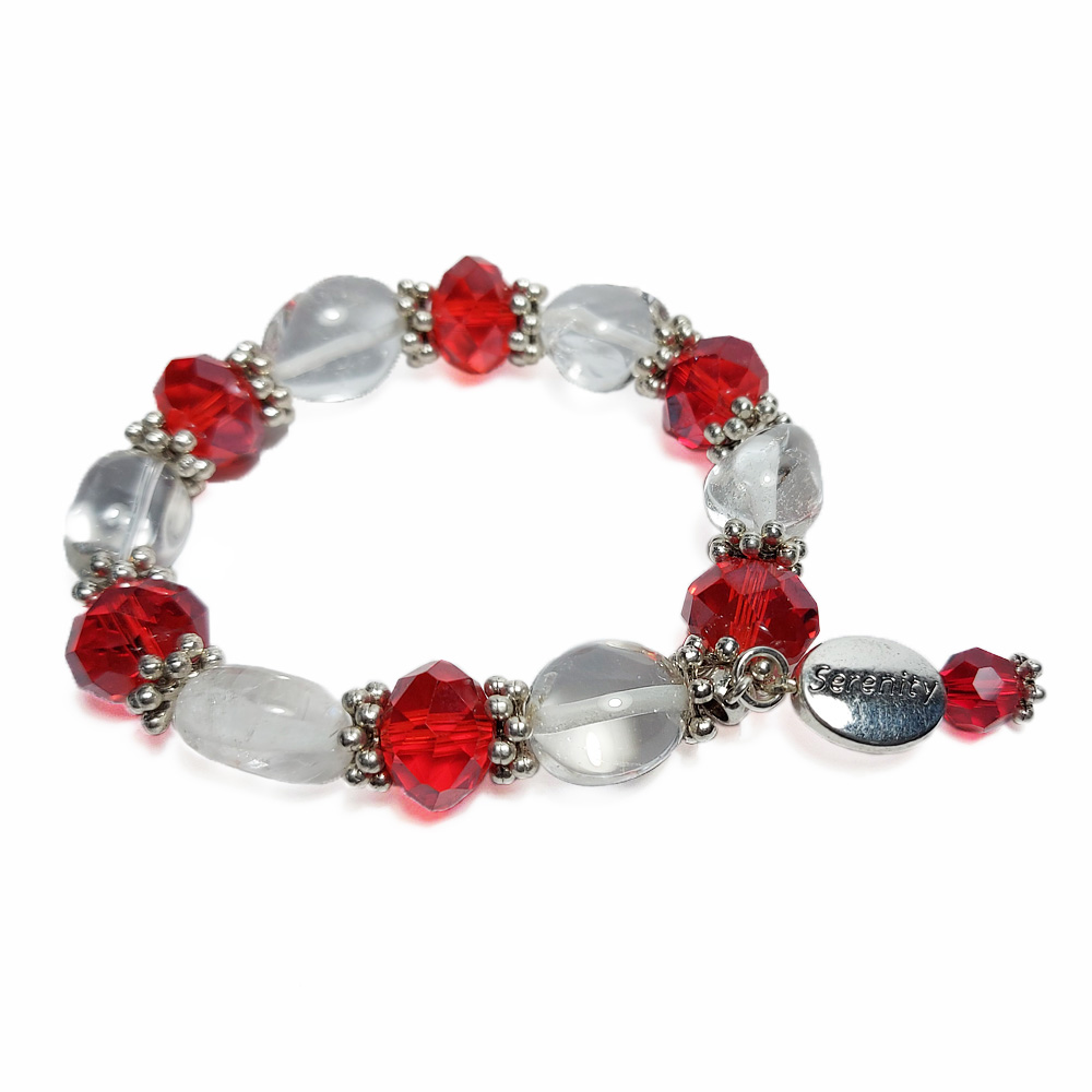 Red and White crystal stone bracelet