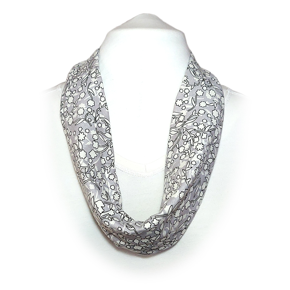Scarf with built in mask - White with grey floral print
