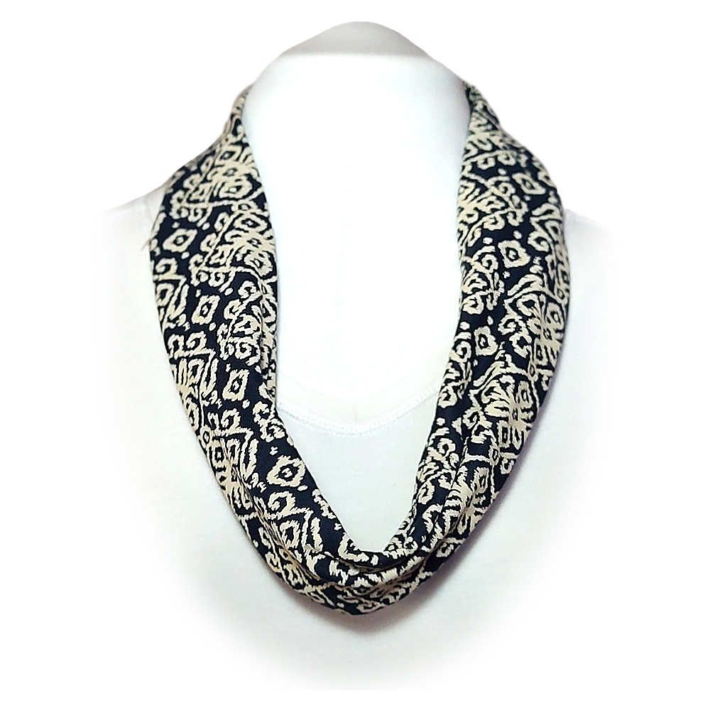 Scarf with built in mask - Navy and cream Ikat design